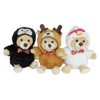 "Set of 3 Plush Teddy Bear Stuffed Animal Figures in Christmas Costumes 8"" - brown"