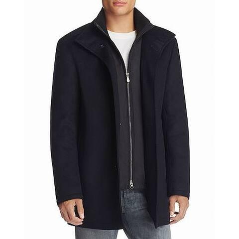 Boss Hugo Boss Men Coat Navy Blue Size 38R Coxton Layered Wool Cashmere