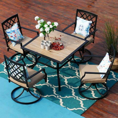 PHI VILLA 5-Piece Patio Dining Set With Swivel Chairs and Wood-Like Square Table
