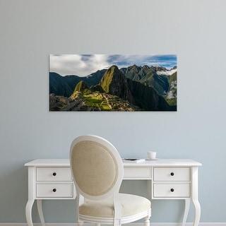 Easy Art Prints Panoramic Image 'View of Inca ruins, Machu Picchu, Urubamba Valley, Cusco City, Peru' Canvas Art