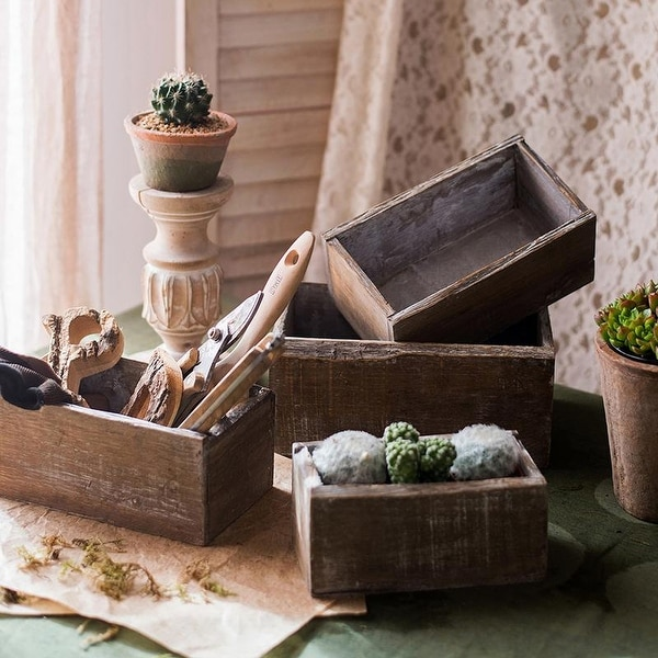 RusticReach Rectangular Solid Wood Table Box Set of 3