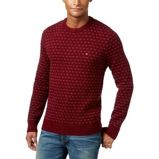 Tommy Hilfiger Mens Pullover Sweater Ribbed Trim Pattern