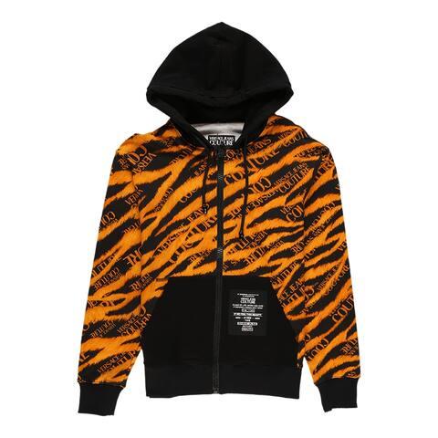 Versace Jeans Couture Men's Tiger Print Hooded Sweatshirt Orange