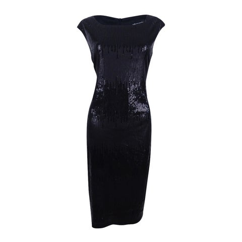 Connected Women's Two-Tone Sequined Sheath Dress - Black