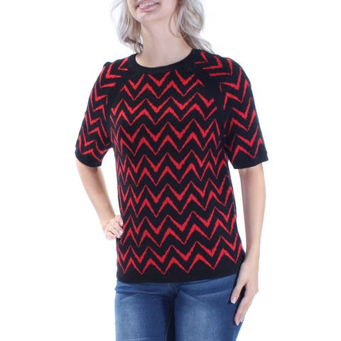 ANNE KLEIN Womens Red Chevron Short Sleeve Jewel Neck Sweater Size: S