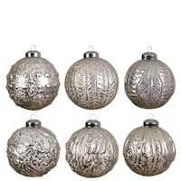 Glass Silver Ball Set of 6
