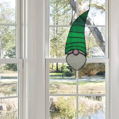 """River of Goods 11.25""""H Carlin Garden Gnome Stained Glass Window Panel"""