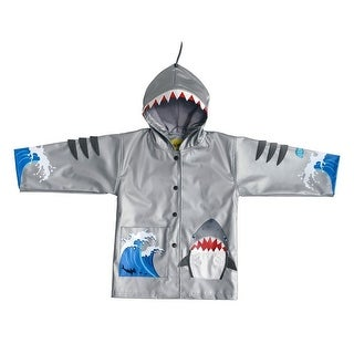 Kidorable Little Boys Grey Shark Mouth Pocket Gills Hooded Rain Coat 2T-6X (5 options available)