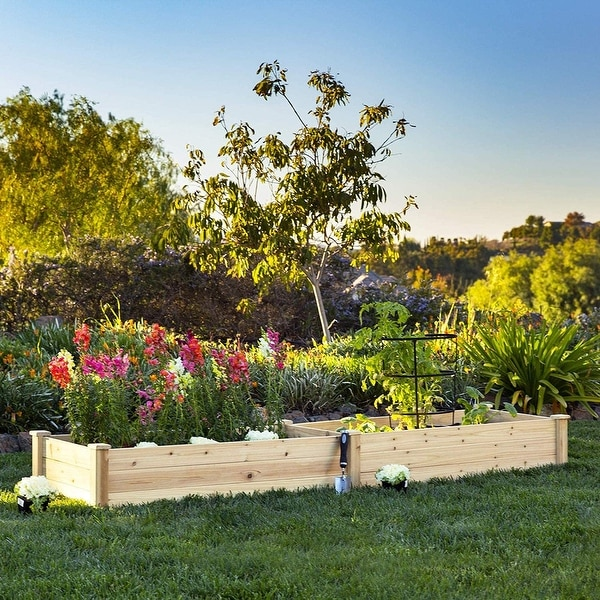 SUNCROWN 8-foot Wooden Garden Bed Planter Box