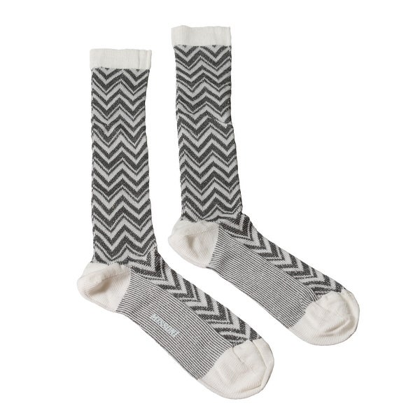 Missoni GM00CMD5458 0004 Gray/Eggshell Knee Length Socks - Grey
