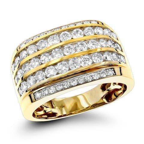 Luxurman 10k Gold Men's 2 1/4ct TDW Diamond Wedding Band