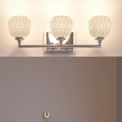 """Luxury Crystal Bathroom Vanity Light, 6.25""""H x 20""""W, with Classic Style, Brushed Nickel Finish - 6.25"""" H, 20"""" W, 5.25"""" Dep"""