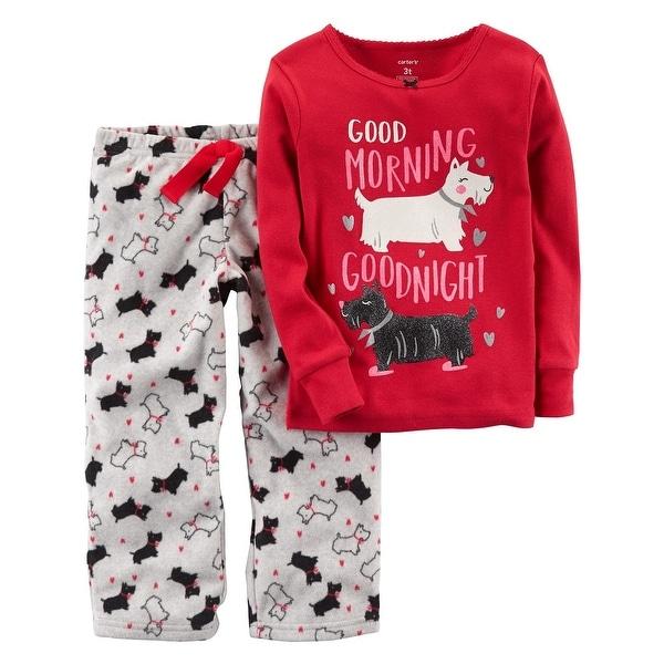 81825c28de91 Shop Carter s Baby Girls  2-Piece Dog Cotton   Fleece PJs