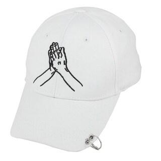 Travel Cotton Blends Palm Embroidery Adjustable Baseball Cap Hip Hop Hat White
