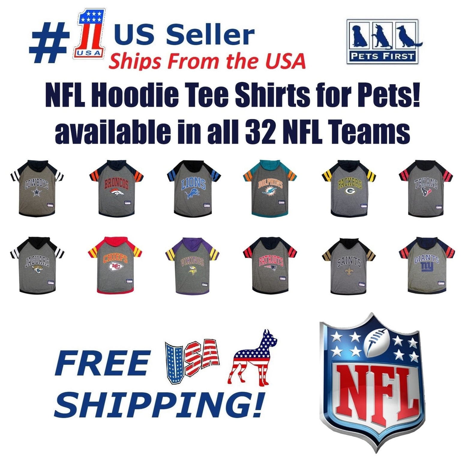 a07b91767b4 Pets First NFL Hoodie Tee Shirt for Dogs & Cats - COOL T-Shirt (
