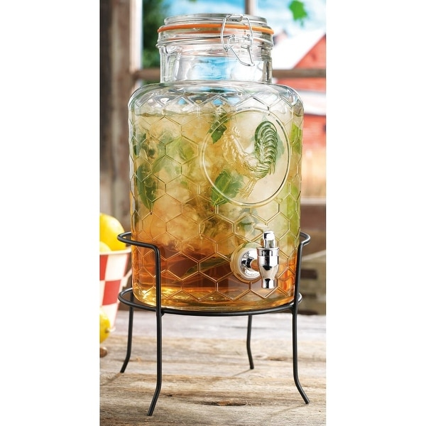 Palais Glassware High Quality Clear Glass 'Rooster' Beverage Dispenser with Bail & Trigger Locking Lid - 1.5 Gallon