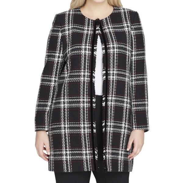 21d7d24296c Shop Tahari by ASL Black Women s Size 22W Plus Fringe-Trim Jacket ...