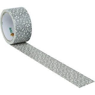Silver Scroll Lace Duck brand Duct Tape 1.88 inch x 10 yards