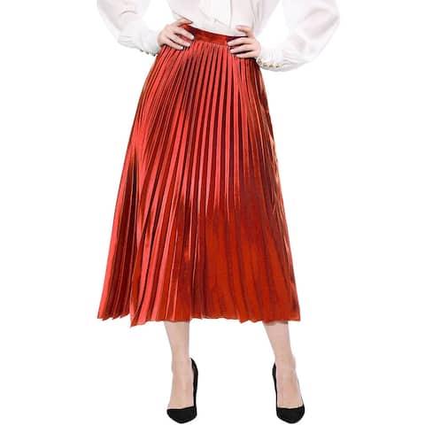 Unique Bargains Women Accordion Pleated Metallic Midi Skirt