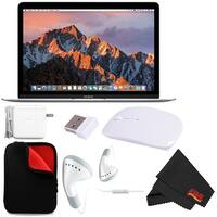 """Apple 12"""" MacBook (Mid 2017 Silver) 256GB SSD (MNYH2LL/A) + MicroFiber Cloth + Padded Case For Macbook Bundle"""