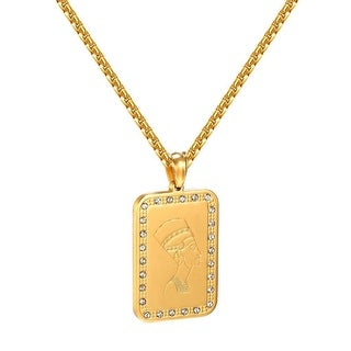Queen Nefertiti Pendant Egyptian Ruler Gold Tone Stainless Steel Box Necklace