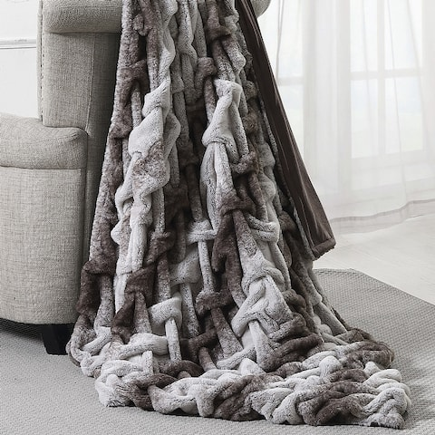 "Modern Threads Faux Fur Braided Reverse to Flannel Throw - 50"" x 60"""