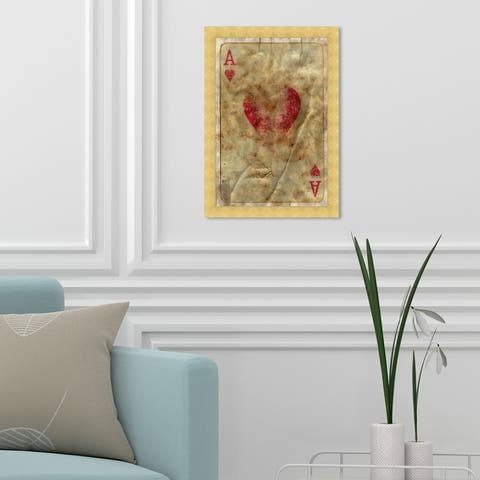 Oliver Gal 'Ace of Hearts' Entertainment and Hobbies Framed Wall Art Prints Poker - Brown, Red