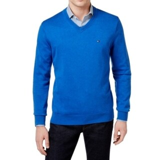 Tommy Hilfiger NEW Blue Mens Size 3XL Solid Signature V-Neck Sweater