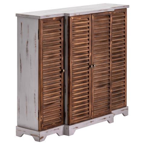 "Haiti 56""W Fir Wood & Grey Washed 4 Door Shutter Cabinet - 56""W x 36""H x 14""D"