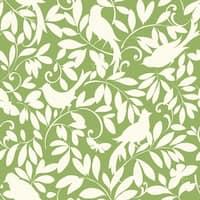 York Wallcoverings ER8136 Waverly Cottage Birdsong Wallpaper - lemon lime/chalk white