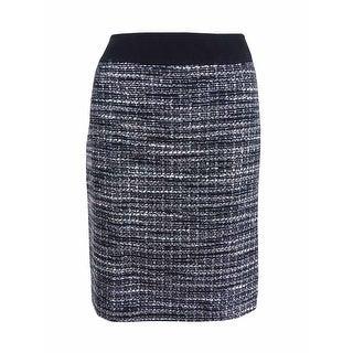 Tahari ASL Women's Petite Metallic Boucle Pencil Skirt - Black/Grey/Ivory