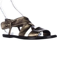 Kalliste 5834 Flat Cross Strap Sandals, Dark Gold
