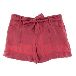 INC NEW Polished Coral Pink Women Size 12 Regular Fit Tie-Belted Shorts
