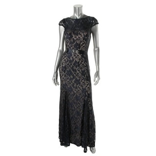 Betsy & Adam Womens Lace Embellished Evening Dress