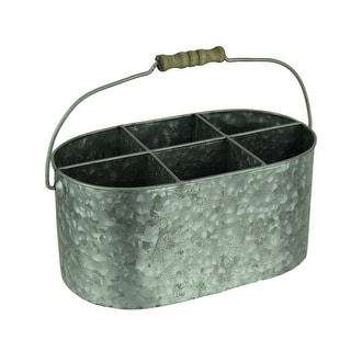 Galvanized Metal Vintage Divided Caddy with Wood Handle - 5.25 X 12 X 6.25 inches