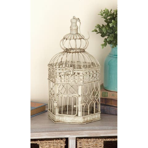 Cream Iron Vintage Birdcage (Set of 2) - 10 x 10 x 21