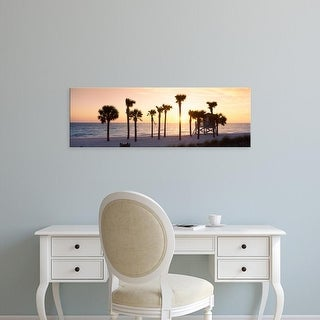 Easy Art Prints Panoramic Image 'Palm trees on beach, Gulf of Mexico, Lido Beach, St. Armands Key, Florida' Canvas Art