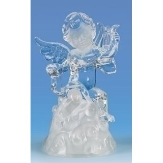 "6.5"" Icy Crystal LED Religious Cherubs with Harp Christmas Figure"