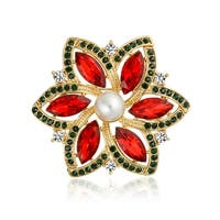 Bling Jewelry Gold Plated Poinsettia Crystal Imitation Pearl Christmas Pin