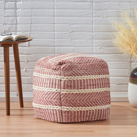 Schillings Boho Hand-Woven Boho Fabric Cube Pouf by Christopher Knight Home