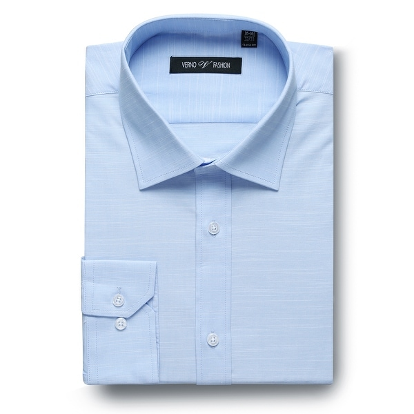 Mens Classic Fit Solid Non-Iron Cotton Spread Collar Dress Shirt