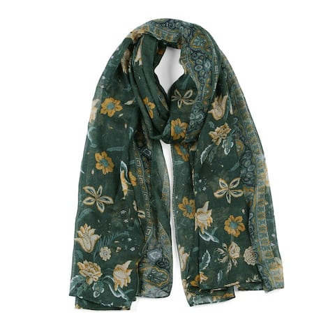 """Large Polyester Scarves Beach Shawl Vintage Style Wraps For Women - Dark Green - 71""""x35.5"""""""