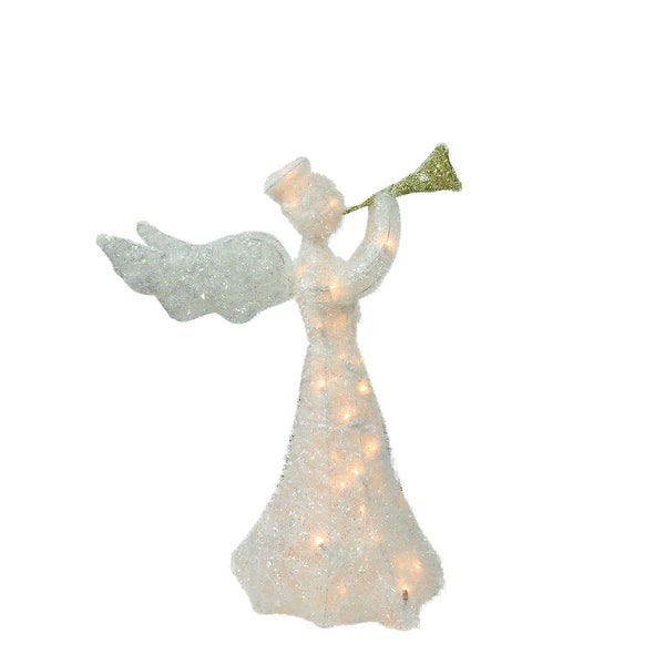 """29"""" Lighted Tinsel Trumpeting Angel Christmas Outdoor Decoration"""