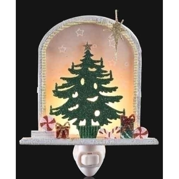 """6.5"""" Sparkling Christmas Tree with Gifts and Bethlehem Star Night Light - green"""