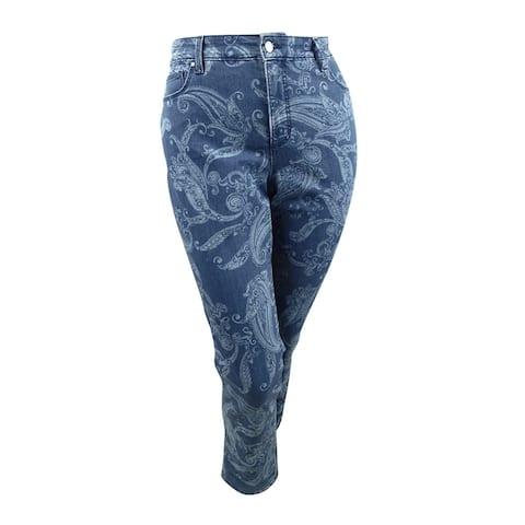 Charter Club Women's Plus Size Printed Straight-Leg Jeans