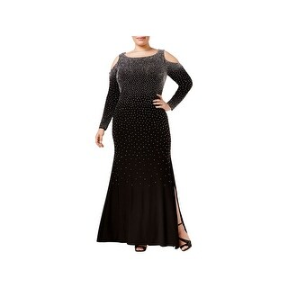 Xscape Womens Plus Formal Dress Beaded Cold-Shoulder - 22W