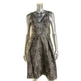 Vera Wang Womens Cocktail Dress Metallic Jacquard