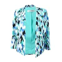 Kasper Women's Plus Size Printed 3/4 Sleeve Blazer - Cabana Blue Multi