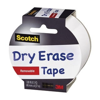 "Scotch 1905R-DE-WHT Dry Erase Tape, White, 1.88"" W x 5 yd. L"