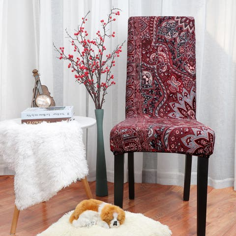 Stretch Washable Short Dining Chair Protector Cover - Multi-Color